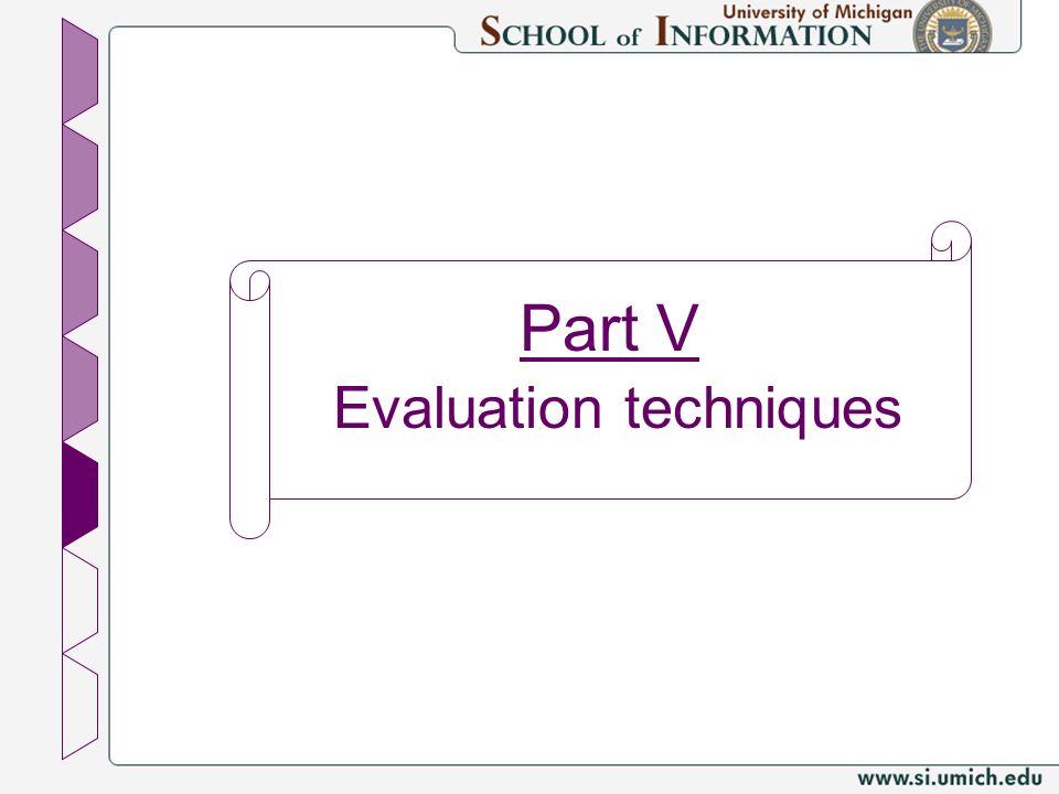 Part V Evaluation techniques