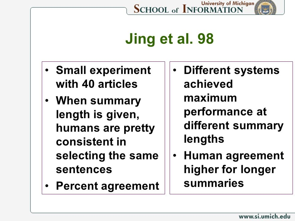 Jing et al. 98 Small experiment with 40 articles When summary length is given, humans are pretty consistent in selecting the same sentences Percent ag