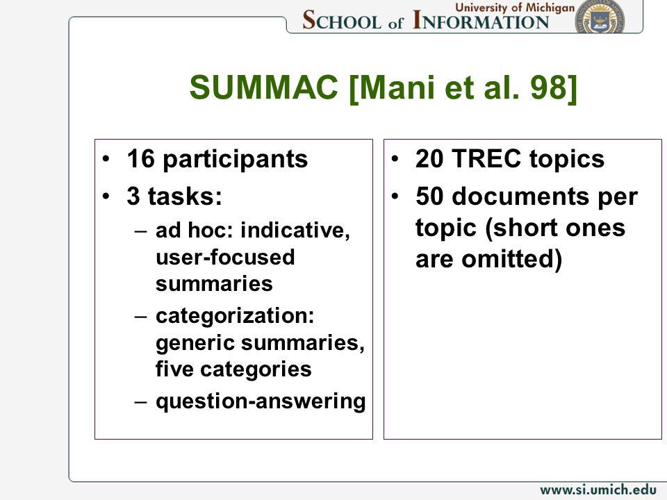 SUMMAC [Mani et al. 98] 16 participants 3 tasks: –ad hoc: indicative, user-focused summaries –categorization: generic summaries, five categories –ques