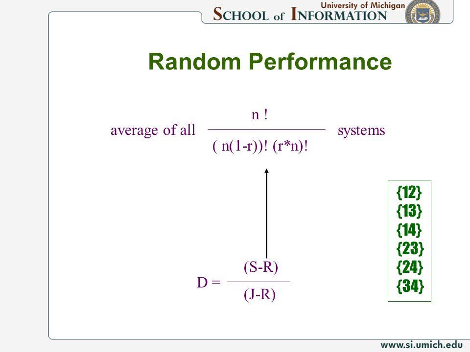 Random Performance D = (S-R) (J-R) n ! ( n(1-r))! (r*n)! systemsaverage of all {12} {13} {14} {23} {24} {34}
