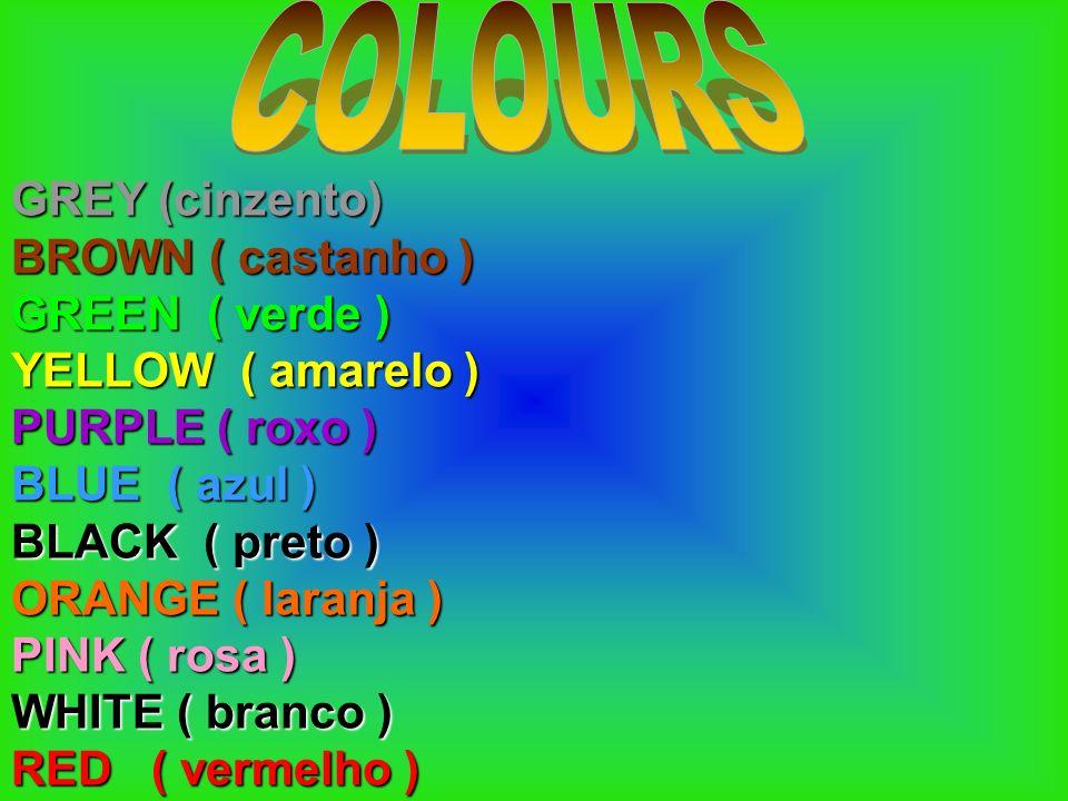GREY (cinzento) BROWN ( castanho ) GREEN ( verde ) YELLOW ( amarelo ) PURPLE ( roxo ) BLUE ( azul ) BLACK ( preto ) ORANGE ( laranja ) PINK ( rosa ) W