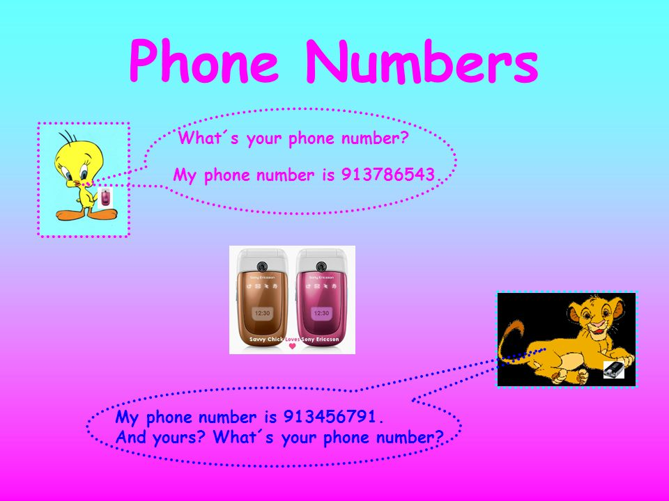 Phone Numbers What´s your phone number? My phone number is 913456791. And yours? What´s your phone number? My phone number is 913786543.