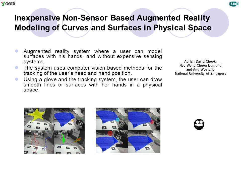 Inexpensive Non-Sensor Based Augmented Reality Modeling of Curves and Surfaces in Physical Space Adrian David Cheok, Neo Weng Chuen Edmund and Ang Wee