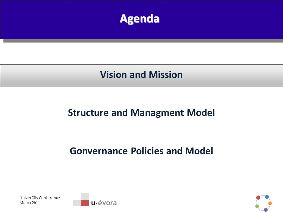 UniverCity Conference Março 2011 2 Vision and Mission Structure and Managment Model Gonvernance Policies and Model Agenda