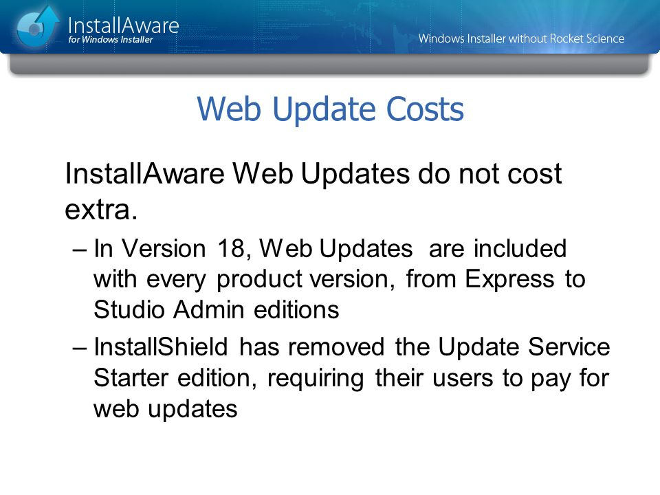 Web Update Costs InstallAware Web Updates do not cost extra. –In Version 18, Web Updates are included with every product version, from Express to Stud