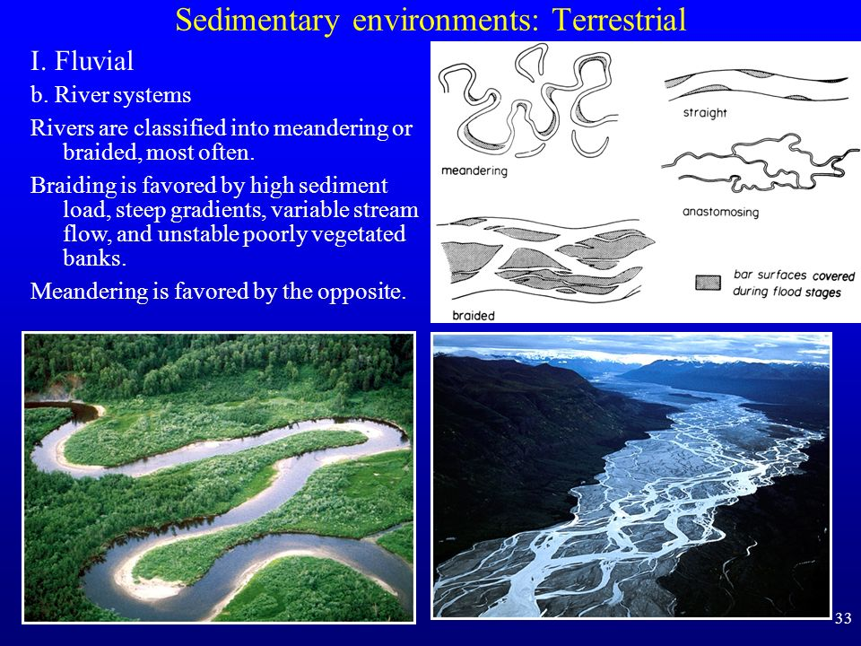 33 Sedimentary environments: Terrestrial I. Fluvial b. River systems Rivers are classified into meandering or braided, most often. Braiding is favored