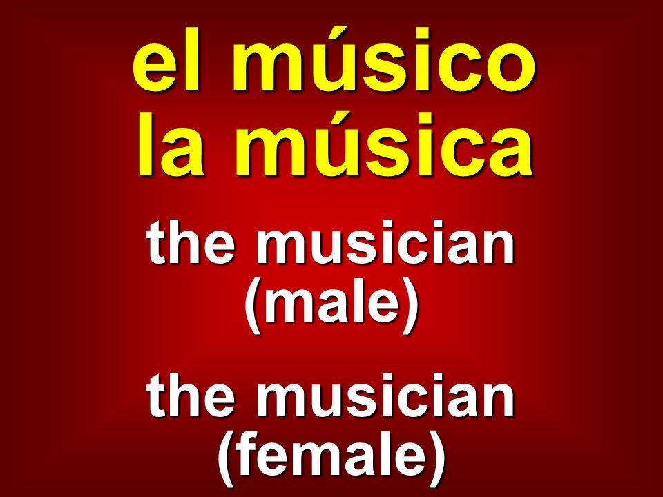 el músico la música the musician (male) the musician (female)
