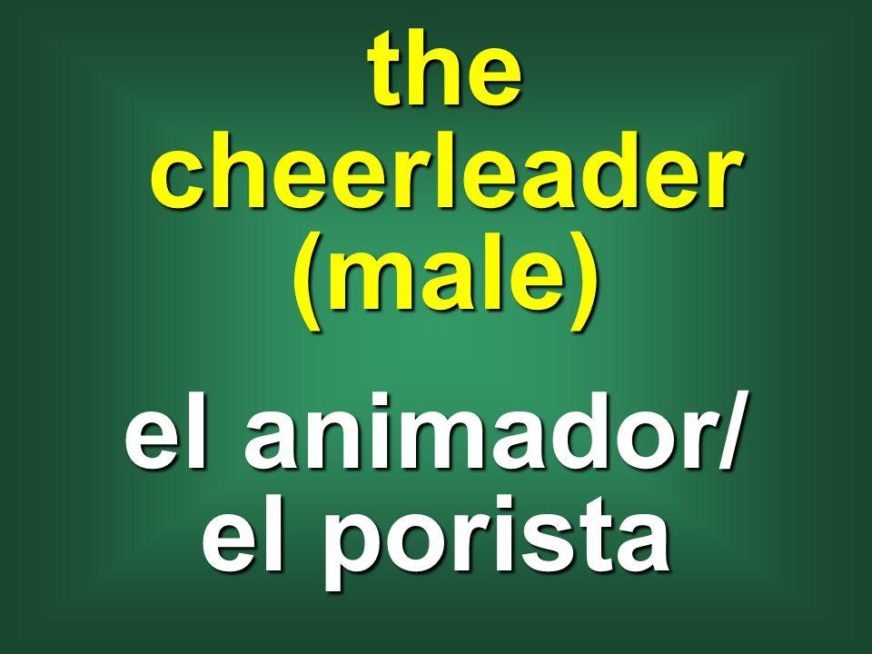 the cheerleader (male) el animador/ el porista
