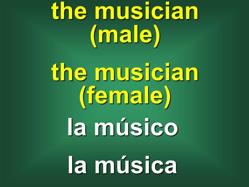 the musician (male) the musician (female) la músico la música