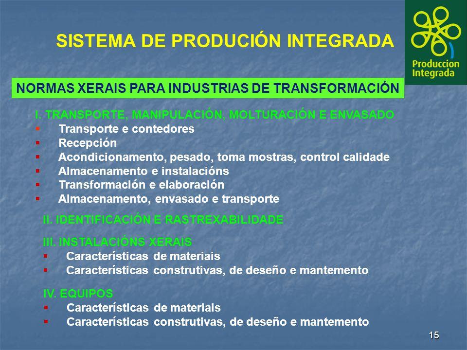 15 SISTEMA DE PRODUCIÓN INTEGRADA NORMAS XERAIS PARA INDUSTRIAS DE TRANSFORMACIÓN I.