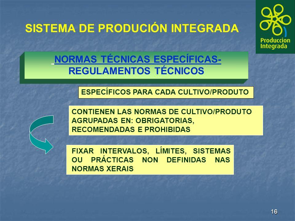16 NORMAS TÉCNICAS ESPECÍFICAS- REGULAMENTOS TÉCNICOS SISTEMA DE PRODUCIÓN INTEGRADA FIXAR INTERVALOS, LÍMITES, SISTEMAS OU PRÁCTICAS NON DEFINIDAS NAS NORMAS XERAIS CONTIENEN LAS NORMAS DE CULTIVO/PRODUTO AGRUPADAS EN: OBRIGATORIAS, RECOMENDADAS E PROHIBIDAS ESPECÍFICOS PARA CADA CULTIVO/PRODUTO