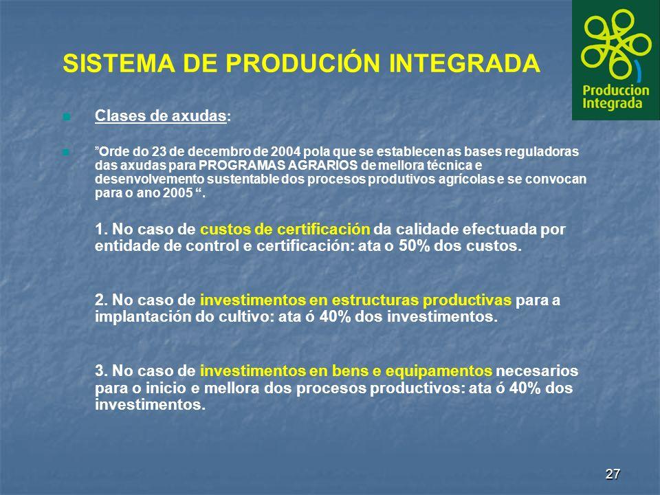 27 Clases de axudas : Orde do 23 de decembro de 2004 pola que se establecen as bases reguladoras das axudas para PROGRAMAS AGRARIOS de mellora técnica e desenvolvemento sustentable dos procesos produtivos agrícolas e se convocan para o ano 2005.