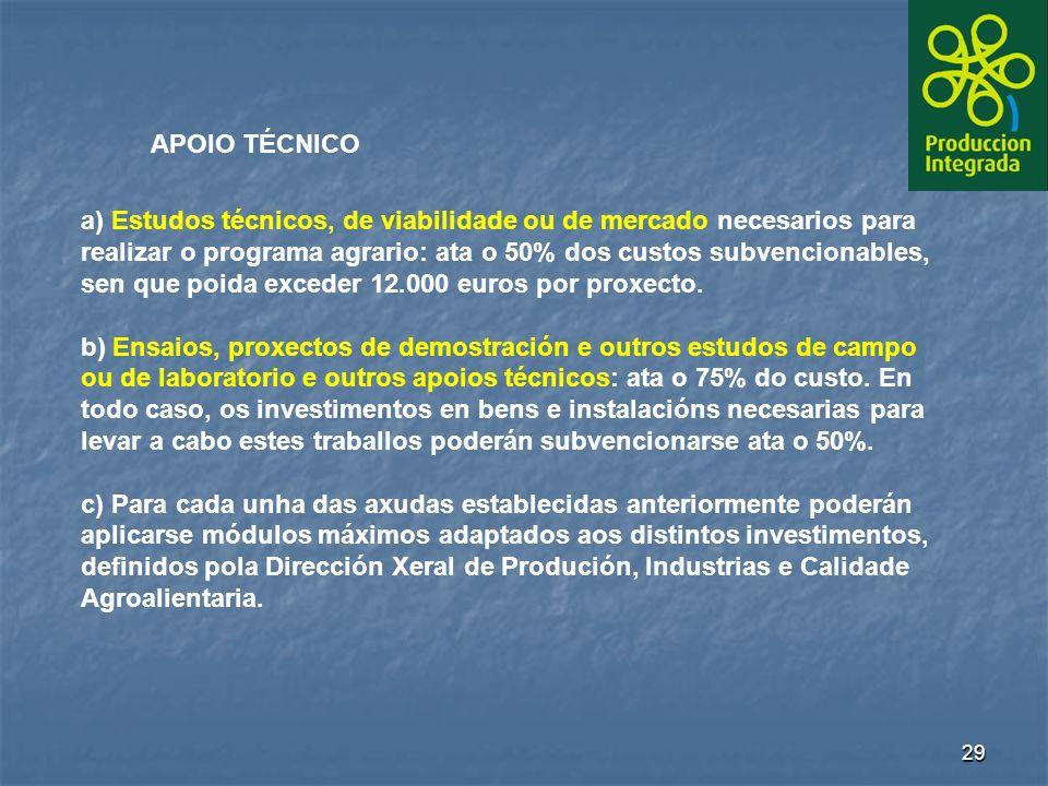 29 APOIO TÉCNICO a) Estudos técnicos, de viabilidade ou de mercado necesarios para realizar o programa agrario: ata o 50% dos custos subvencionables, sen que poida exceder 12.000 euros por proxecto.