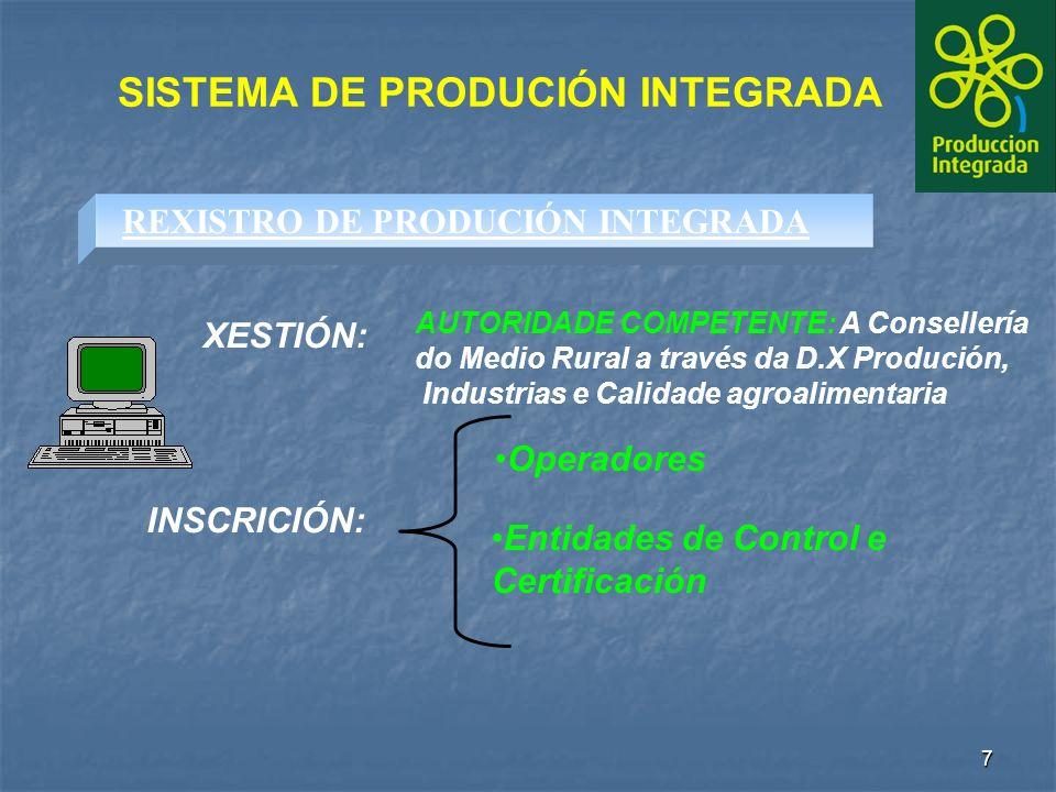 7 SISTEMA DE PRODUCIÓN INTEGRADA Operadores REXISTRO DE PRODUCIÓN INTEGRADA Entidades de Control e Certificación XESTIÓN: AUTORIDADE COMPETENTE: A Consellería do Medio Rural a través da D.X Produción, Industrias e Calidade agroalimentaria INSCRICIÓN: