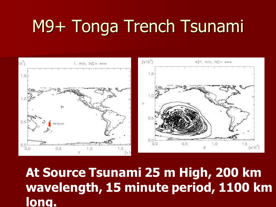 M9+ Tonga Trench Tsunami At Source Tsunami 25 m High, 200 km wavelength, 15 minute period, 1100 km long.