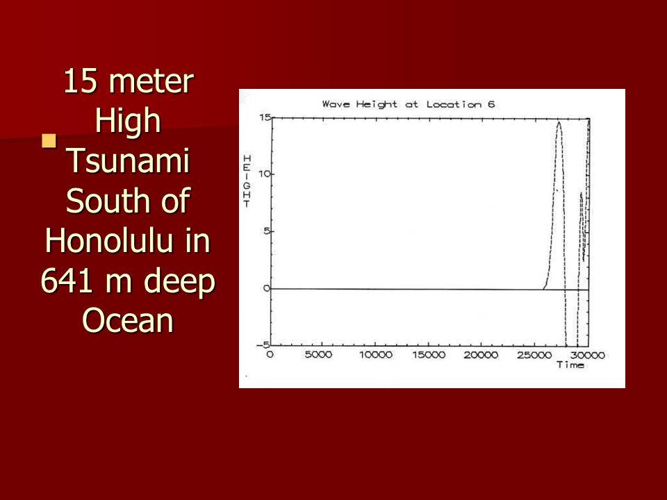 15 meter High Tsunami South of Honolulu in 641 m deep Ocean