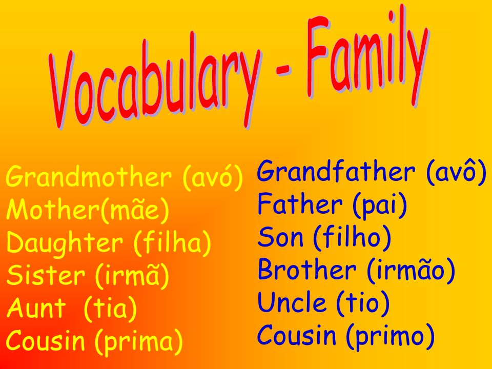 Grandmother (avó) Mother(mãe) Daughter (filha) Sister (irmã) Aunt (tia) Cousin (prima) Grandfather (avô) Father (pai) Son (filho) Brother (irmão) Uncl