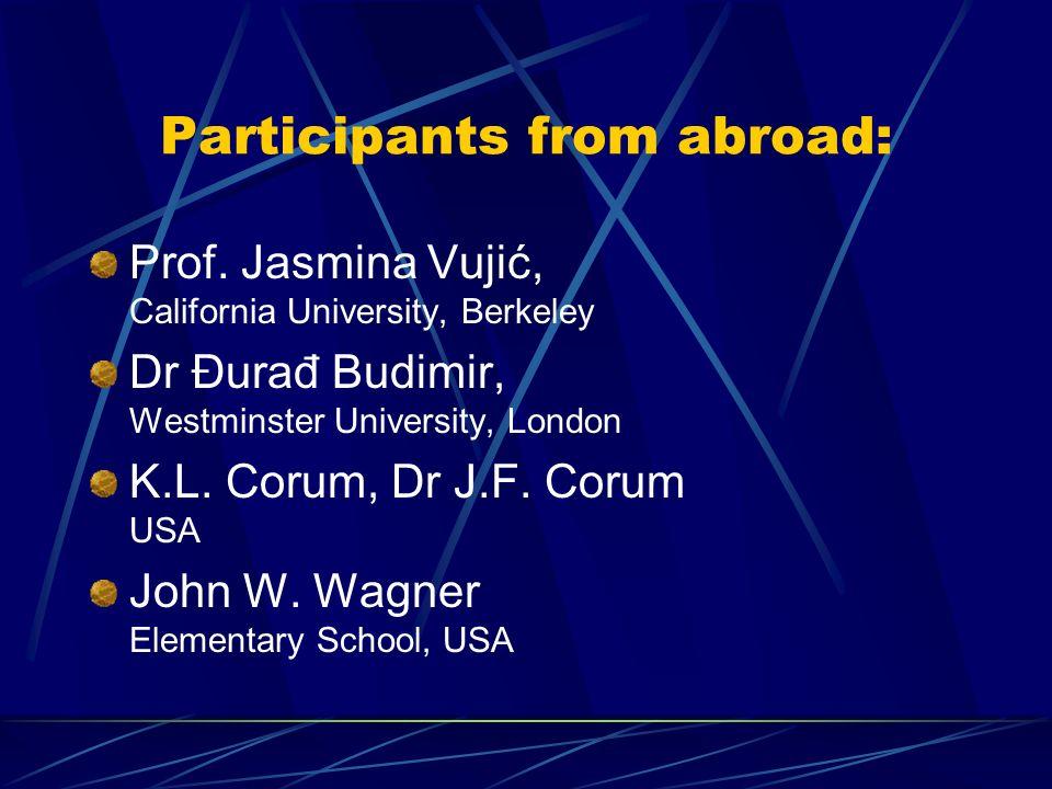 Participants from abroad: Prof. Jasmina Vujić, California University, Berkeley Dr Đurađ Budimir, Westminster University, London K.L. Corum, Dr J.F. Co