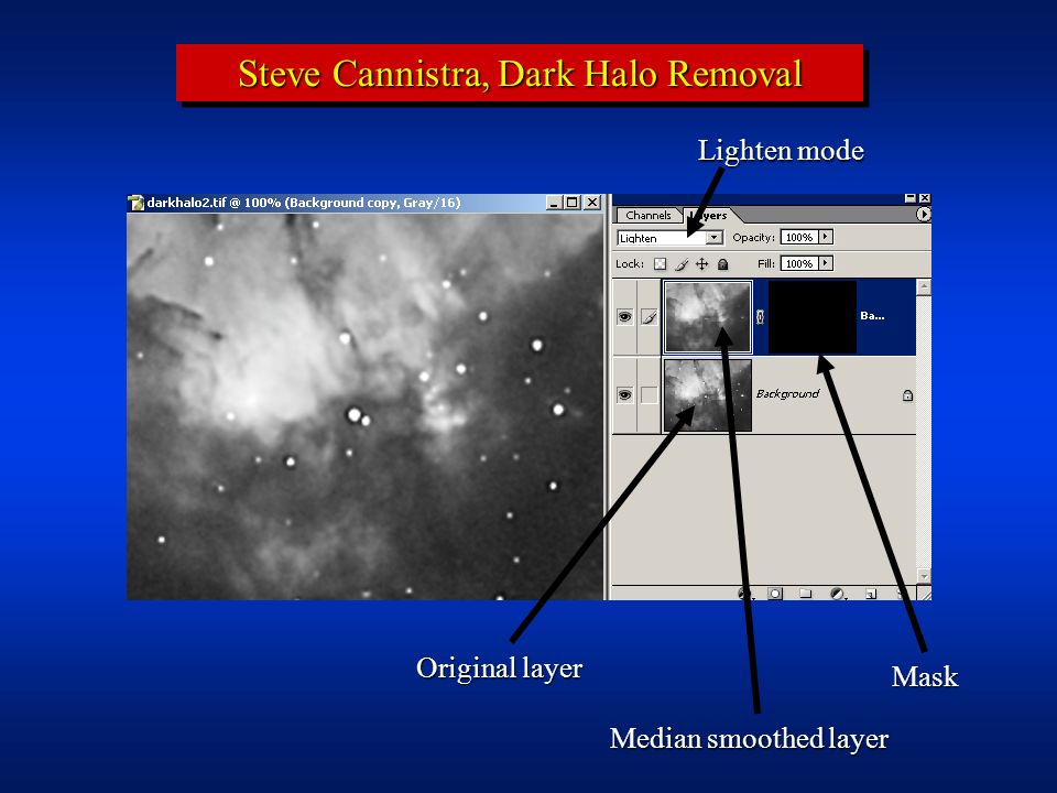 Steve Cannistra, Dark Halo Removal Removing the halos is accomplished by painting the mask white in the areas of affected stars: 1.