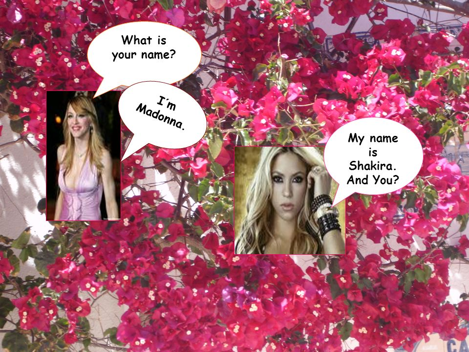 What is your name? My name is Shakira. And You? I´m Madonna.