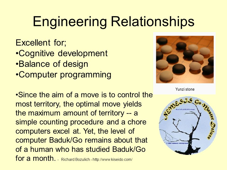 Engineering Relationships Excellent for; Cognitive development Balance of design Computer programming Since the aim of a move is to control the most t