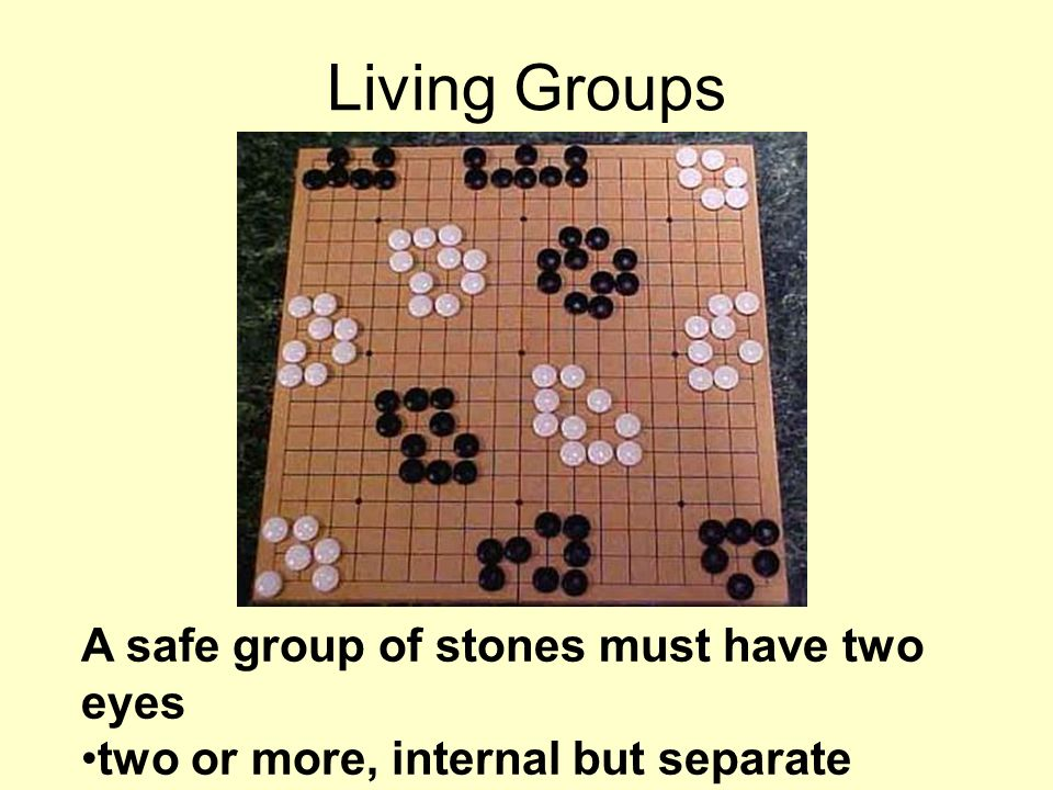 A safe group of stones must have two eyes two or more, internal but separate empty points Living Groups