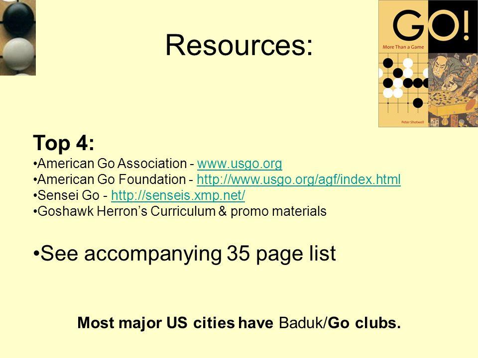 Top 4: American Go Association - www.usgo.orgwww.usgo.org American Go Foundation - http://www.usgo.org/agf/index.htmlhttp://www.usgo.org/agf/index.htm