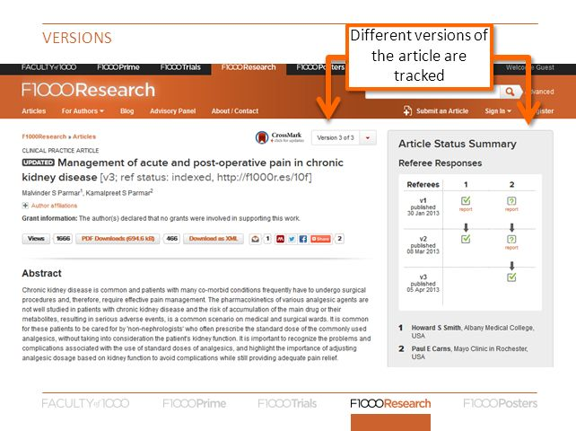 VERSIONS Different versions of the article are tracked