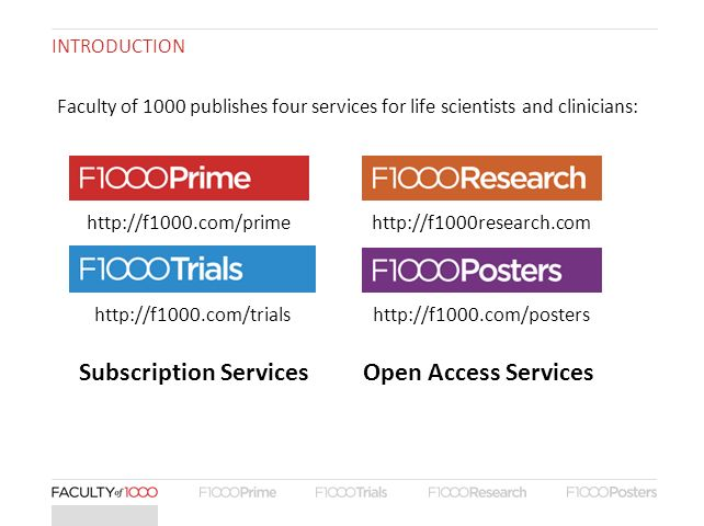 INTRODUCTION Subscription ServicesOpen Access Services Faculty of 1000 publishes four services for life scientists and clinicians: http://f1000.com/pr