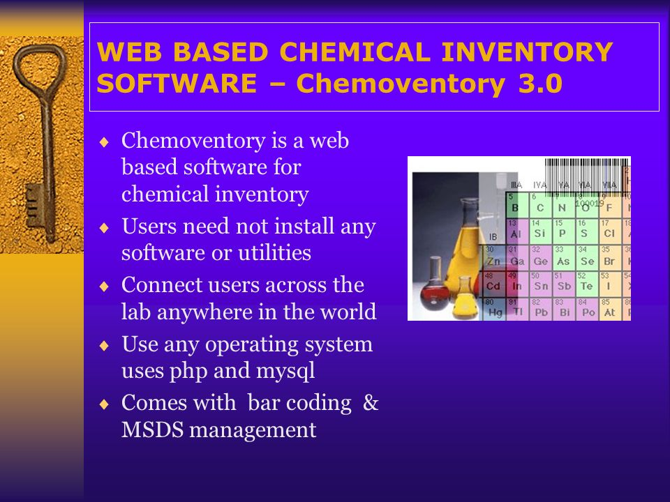 Unlimited functionalities… Manage inventory Find out all locations of chemical available Audit chemical tracking/usage MSDS management Powerful search Manage users, locations, building, units, containers etc.