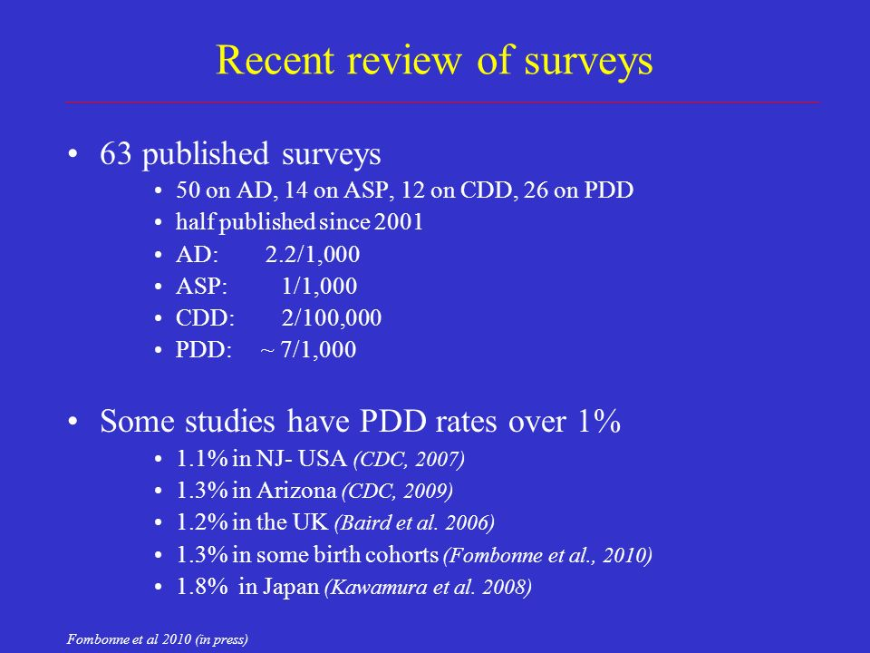 Recent review of surveys 63 published surveys 50 on AD, 14 on ASP, 12 on CDD, 26 on PDD half published since 2001 AD: 2.2/1,000 ASP: 1/1,000 CDD: 2/100,000 PDD: ~ 7/1,000 Some studies have PDD rates over 1% 1.1% in NJ- USA (CDC, 2007) 1.3% in Arizona (CDC, 2009) 1.2% in the UK (Baird et al.