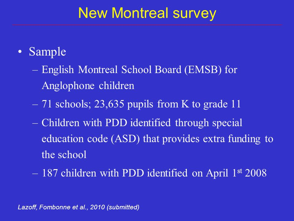 New Montreal survey Sample –English Montreal School Board (EMSB) for Anglophone children –71 schools; 23,635 pupils from K to grade 11 –Children with PDD identified through special education code (ASD) that provides extra funding to the school –187 children with PDD identified on April 1 st 2008 Lazoff, Fombonne et al., 2010 (submitted)