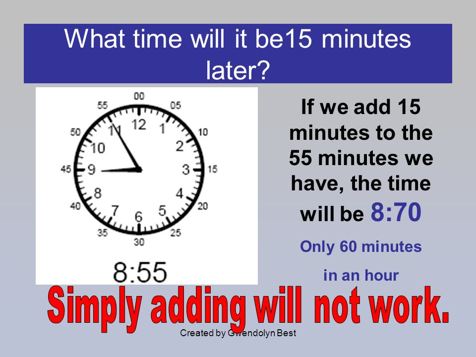 Created by Gwendolyn Best What time will it be15 minutes later? If we add 15 minutes to the 55 minutes we have, the time will be 8:70 Only 60 minutes