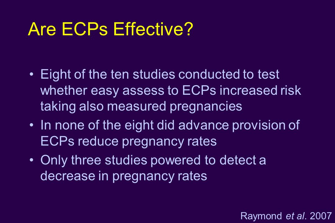 Are ECPs Effective? Eight of the ten studies conducted to test whether easy assess to ECPs increased risk taking also measured pregnancies In none of