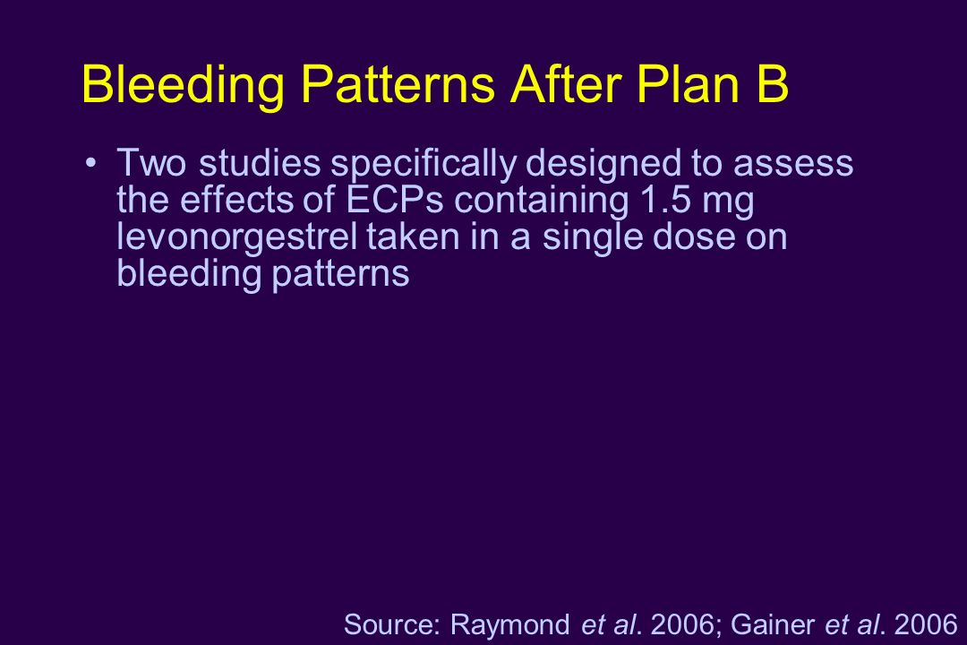 Bleeding Patterns After Plan B Two studies specifically designed to assess the effects of ECPs containing 1.5 mg levonorgestrel taken in a single dose