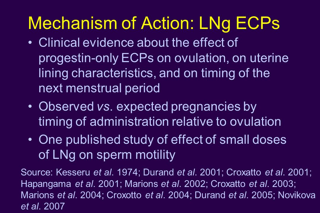 Mechanism of Action: LNg ECPs Clinical evidence about the effect of progestin-only ECPs on ovulation, on uterine lining characteristics, and on timing