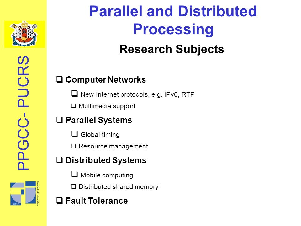 Research Subjects Computer Networks New Internet protocols, e.g.