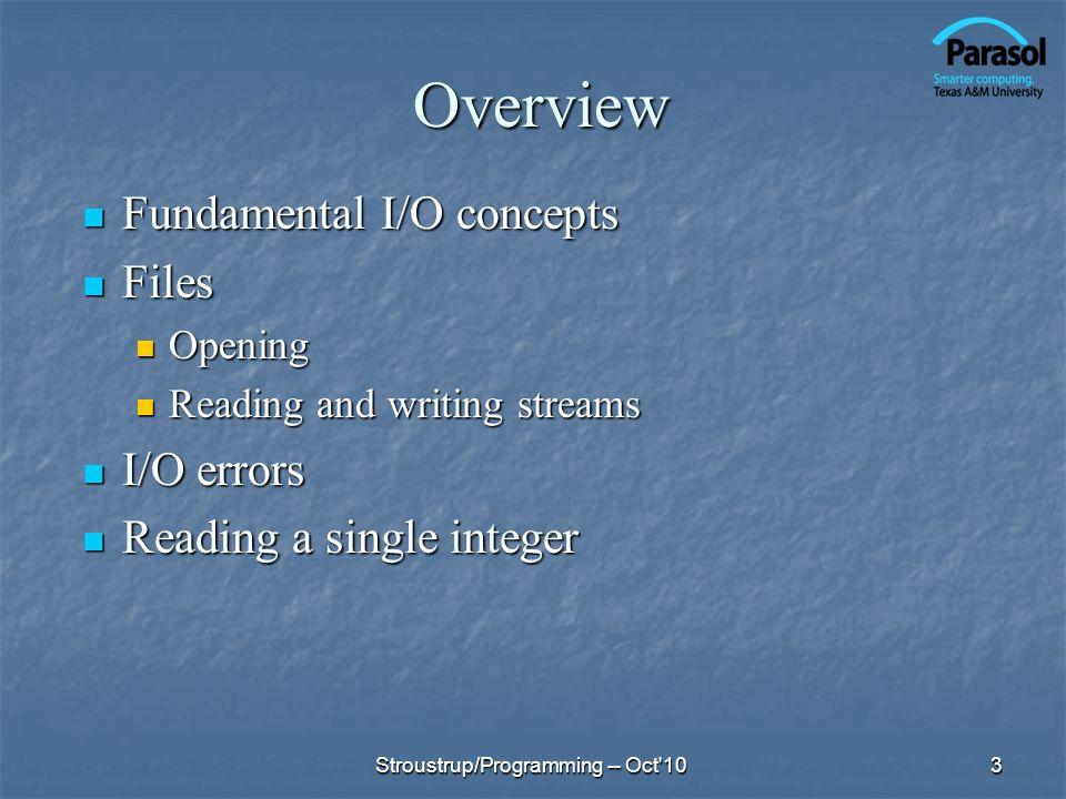Overview Fundamental I/O concepts Fundamental I/O concepts Files Files Opening Opening Reading and writing streams Reading and writing streams I/O err