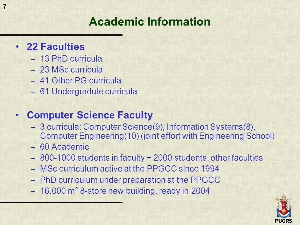 7 Academic Information 22 Faculties –13 PhD curricula –23 MSc curricula –41 Other PG curricula –61 Undergradute curricula Computer Science Faculty –3