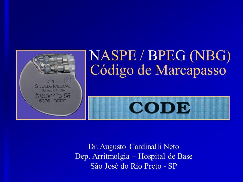 NASPE / BPEG (NBG) Código de Marcapasso Dr. Augusto Cardinalli Neto Dep. Arritmolgia – Hospital de Base São José do Rio Preto - SP