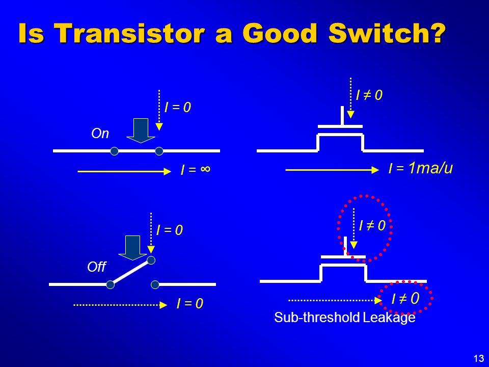 13 Is Transistor a Good Switch? On I = I = 0 Off I = 0 I 0 I = 1ma/u I 0 Sub-threshold Leakage