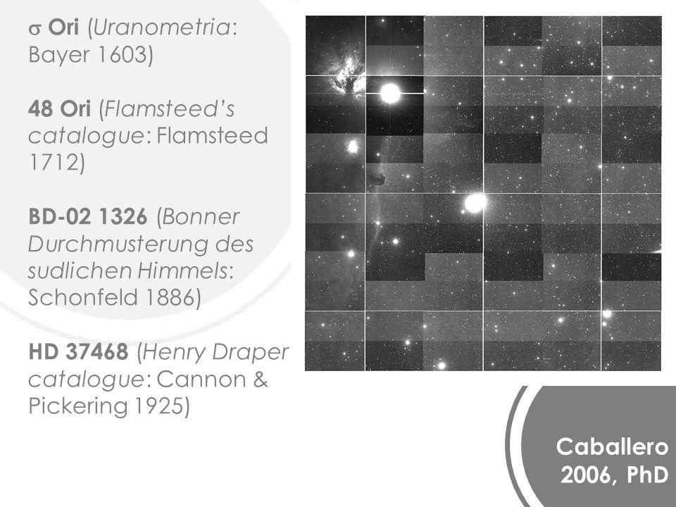 Caballero 2006, PhD Ori (Uranometria: Bayer 1603) 48 Ori (Flamsteeds catalogue: Flamsteed 1712) BD-02 1326 (Bonner Durchmusterung des sudlichen Himmels: Schonfeld 1886) HD 37468 (Henry Draper catalogue: Cannon & Pickering 1925)