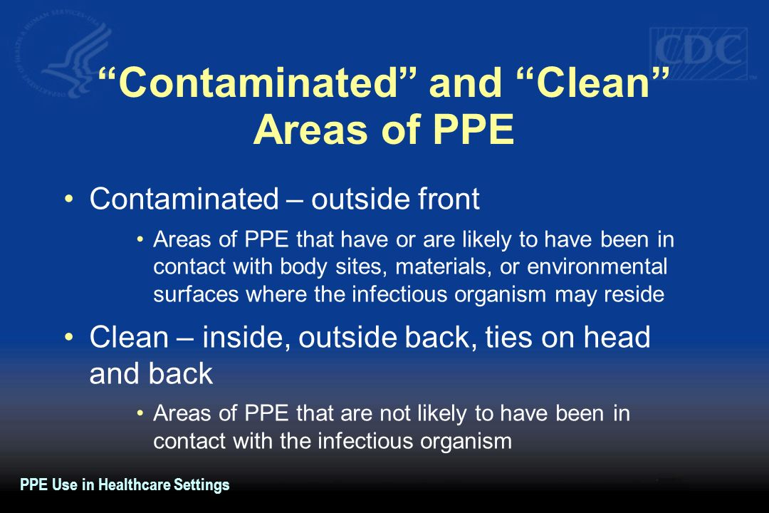 Contaminated and Clean Areas of PPE Contaminated – outside front Areas of PPE that have or are likely to have been in contact with body sites, materia