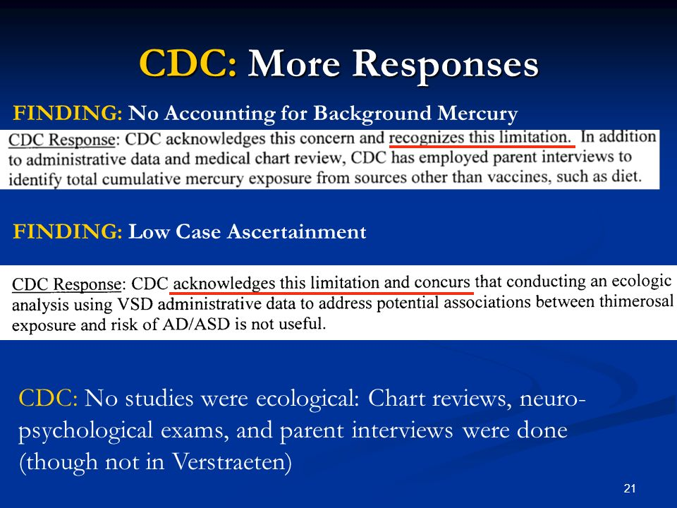 21 CDC: More Responses FINDING: No Accounting for Background Mercury FINDING: Low Case Ascertainment CDC: No studies were ecological: Chart reviews, neuro- psychological exams, and parent interviews were done (though not in Verstraeten)