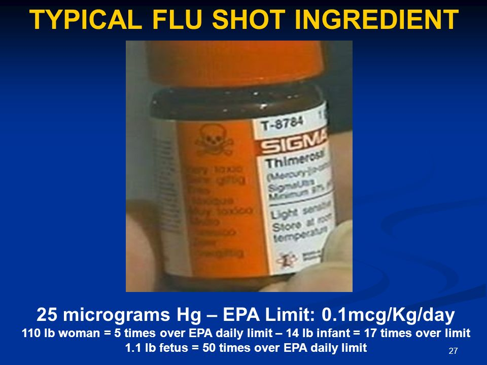 27 TYPICAL FLU SHOT INGREDIENT 25 micrograms Hg – EPA Limit: 0.1mcg/Kg/day 110 lb woman = 5 times over EPA daily limit – 14 lb infant = 17 times over limit 1.1 lb fetus = 50 times over EPA daily limit