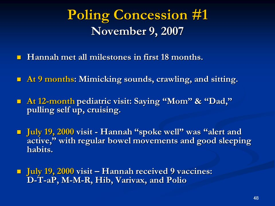 48 Poling Concession #1 November 9, 2007 Hannah met all milestones in first 18 months.