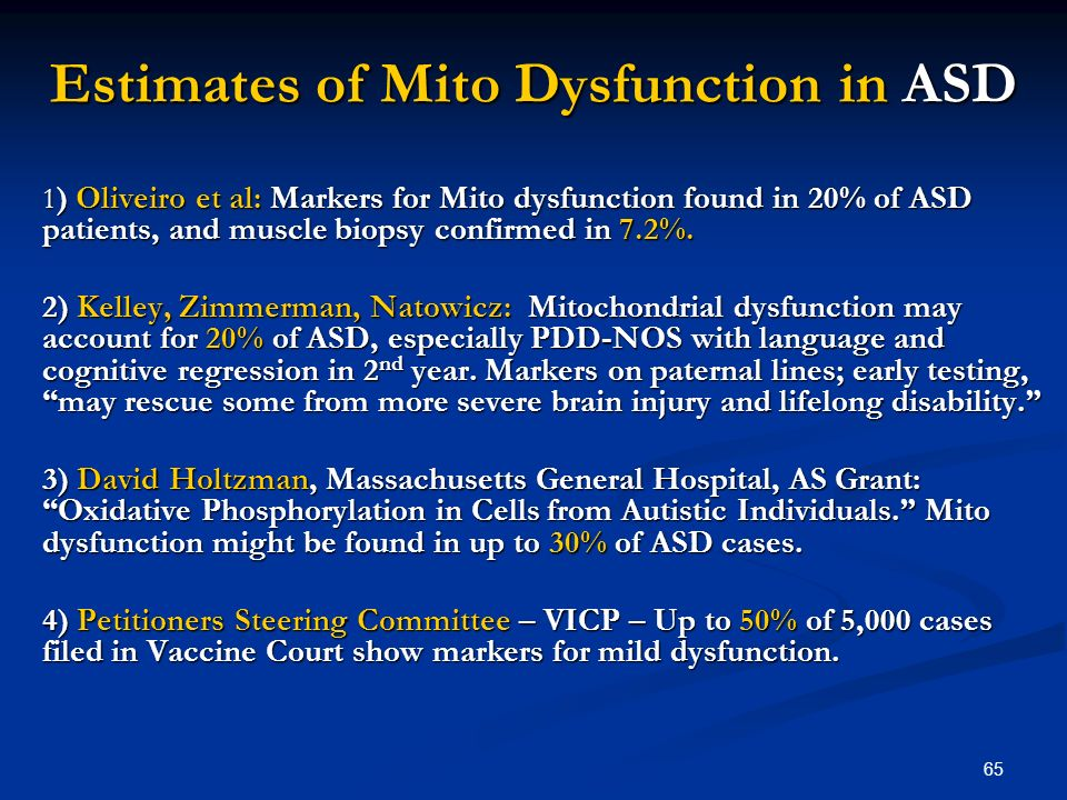 65 Estimates of Mito Dysfunction in ASD 1 ) Oliveiro et al: Markers for Mito dysfunction found in 20% of ASD patients, and muscle biopsy confirmed in 7.2%.