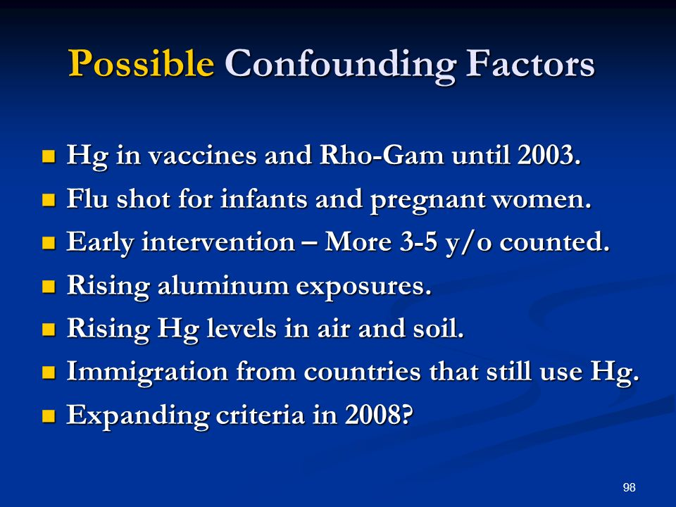 98 Possible Confounding Factors Hg in vaccines and Rho-Gam until 2003.