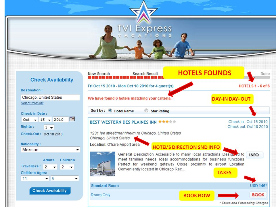 7 6 5 4 HOTELS FOUNDS DAY-IN DAY- OUT HOTELS DIRECTION SND INFO TAXES BOOK NOW