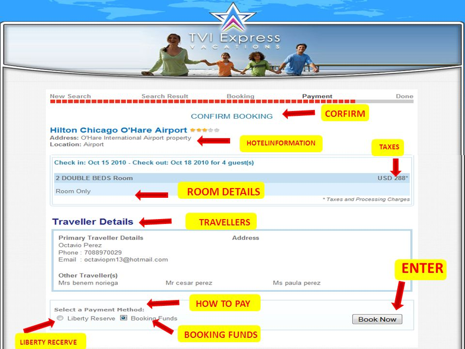 CORFIRM HOTELINFORMATION TAXES ROOM DETAILS TRAVELLERS HOW TO PAY LIBERTY RECERVE BOOKING FUNDS ENTER